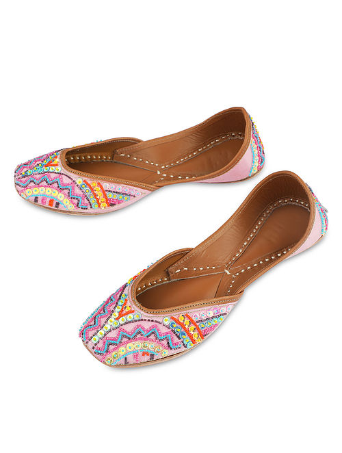 Pink Handcrafted Faux Leather Juttis