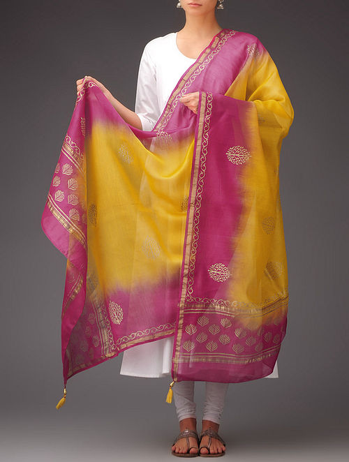 Yellow-Fuschia Khari Printed Chanderi Dupatta