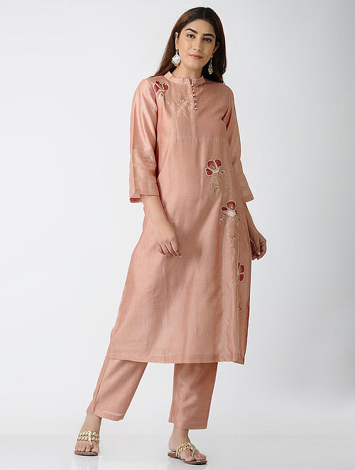 Peach Embroidered Chanderi Kurta with Pants (Set of 2)