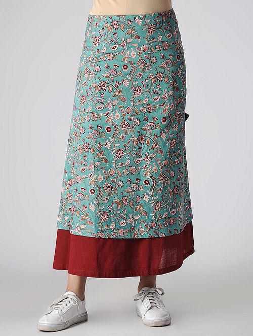7efd488c25 Buy Teal-Maroon Tie-up Waist Block-printed Cotton Skirt Online at ...