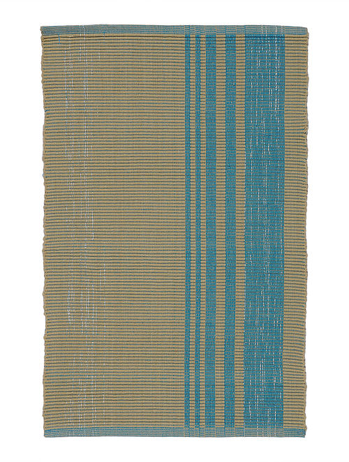 Blue-Beige Handwoven Cotton Placemats (Set of 6)