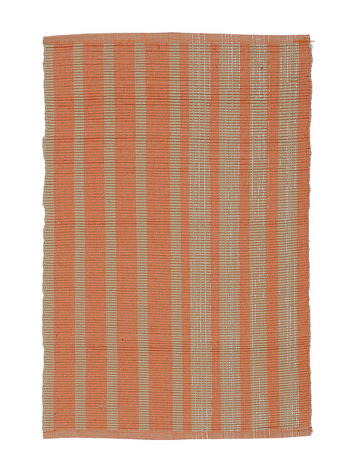 Orange-Beige Handwoven Cotton Placemats (Set of 6)
