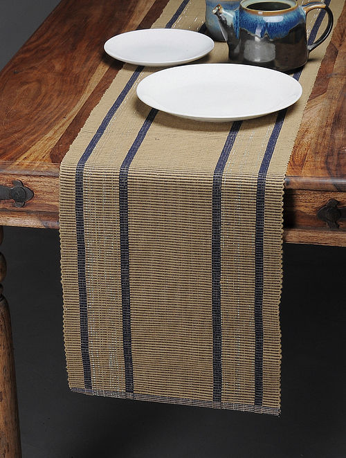 Beige-Blue Handwoven Cotton Table Runner