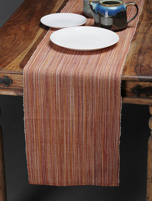 Brown Handwoven Cotton Table Runner