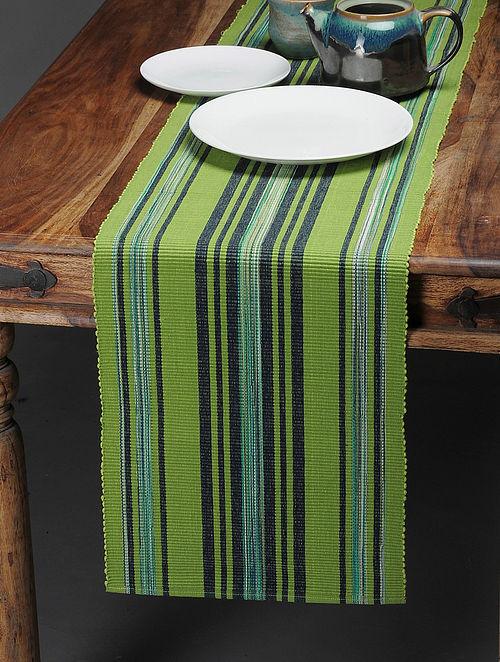 Green-Blue Handwoven Cotton Table Runner