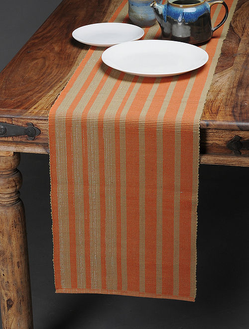 Orange-Beige Handwoven Reversible Cotton Table Runner