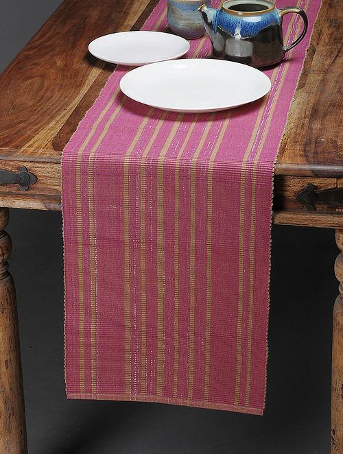 Pink-Beige Handwoven Cotton Table Runner