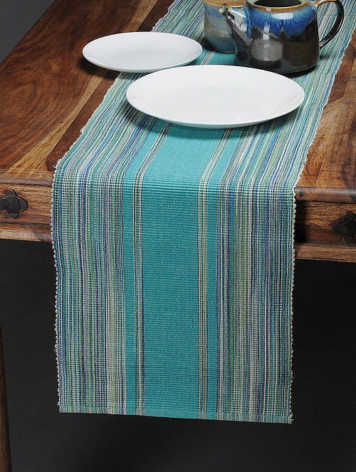 Turquoise Handwoven Cotton Table Runner