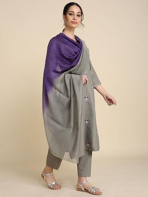Grey Blue Chanderi Silk Dupatta with Scallop Detailing
