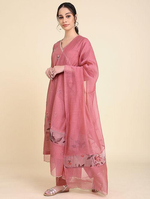 Pink Chanderi Silk Dupatta with Scallop Detailing