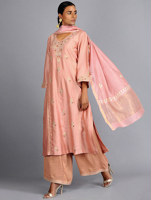 96b0fc95972af Buy Peach Tilla Embroidered Chanderi Silk Kurta Online at Jaypore.com