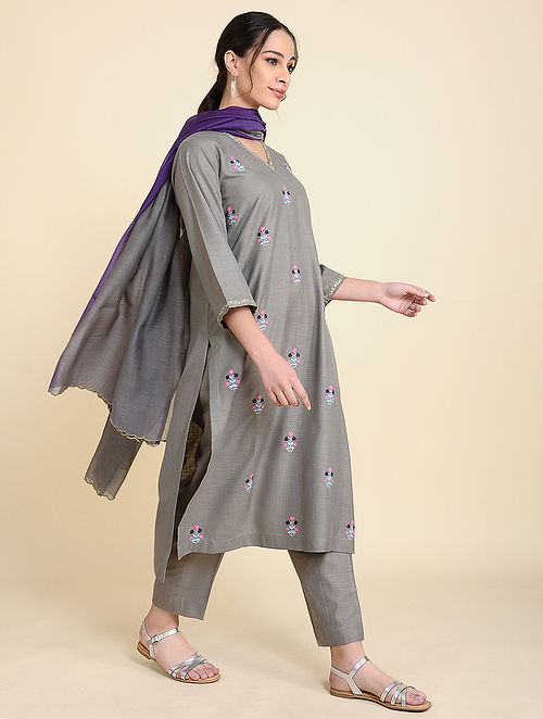 Grey Embroidered Matka Cotton Kurta