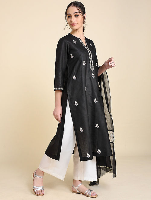 Black Embroidered Matka Cotton Kurta