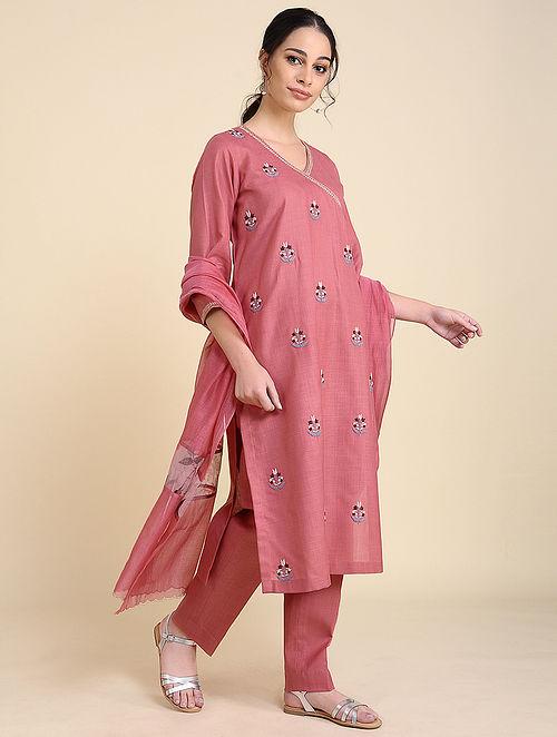 Pink Embroidered Matka Cotton Kurta