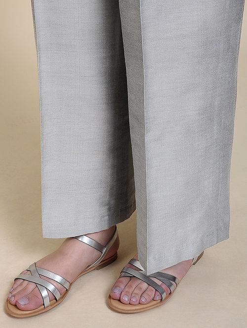 Grey Cotton Silk Palazzos