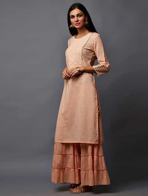99f7618268 Peach Embroidered Cotton Dobby Kurta and Palazzos with Gota Work (Set of 2)