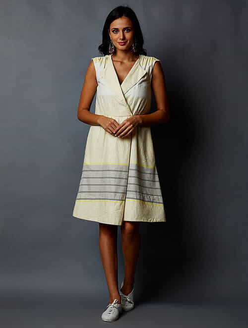 ad3f1afa5f Buy White-Yellow Striped Cotton Dress Online at Jaypore.com