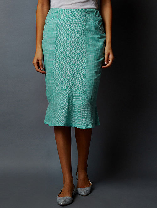 f08cff0ae Buy White-Green Checkered South Cotton Skirt Online at Jaypore.com