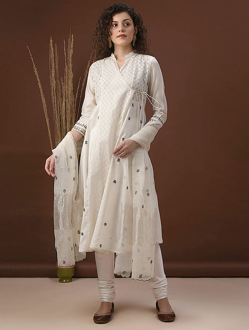 RAIHANAA - Ivory Embroidered Silk Cotton Angrakha with Cutwork and Zari