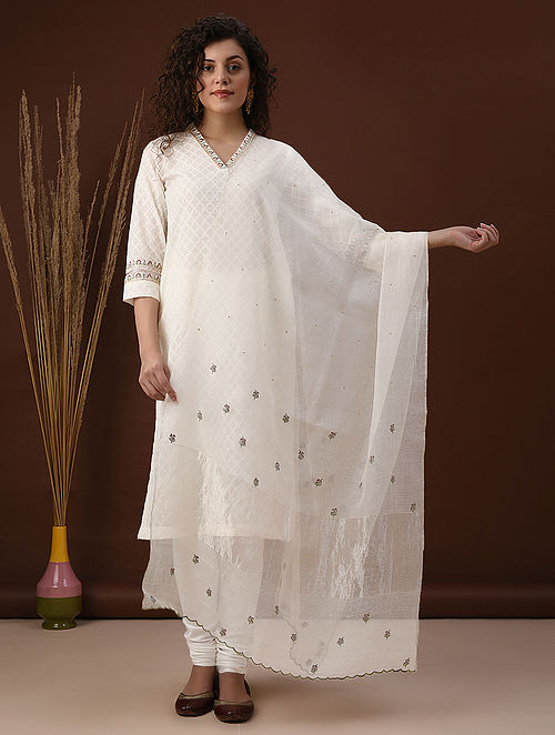 Ivory Embroiered Silk Cotton Dupatta with Scalloping
