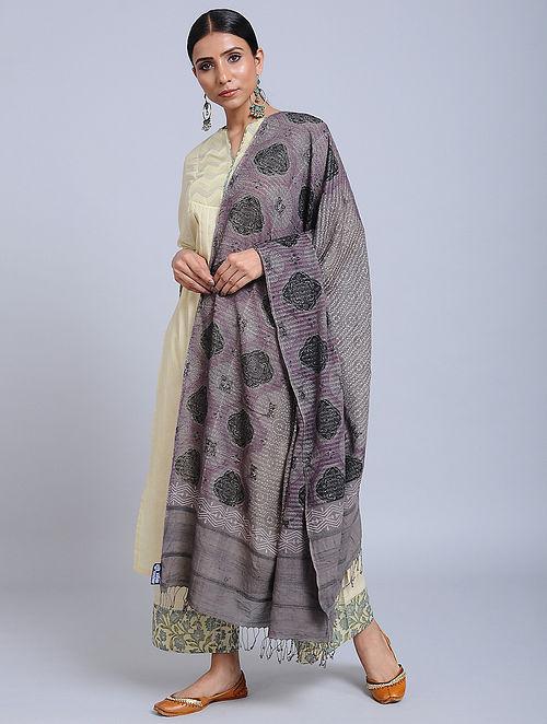 Grey-Black Handwoven Ajrakh Printed Cotton Dupatta