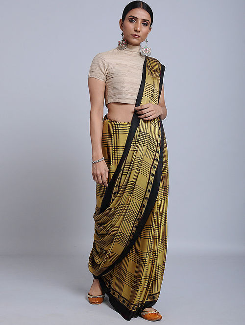 Yellow-Black Ajrakh Printed Modal Silk Saree
