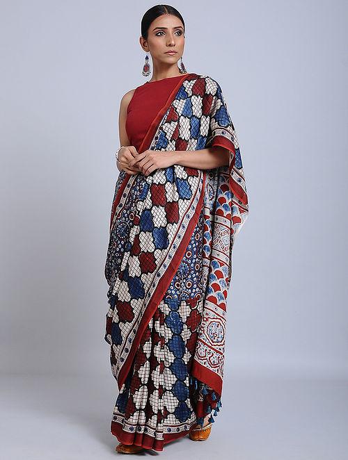 Blue-Red Ajrakh Printed Modal Silk Saree