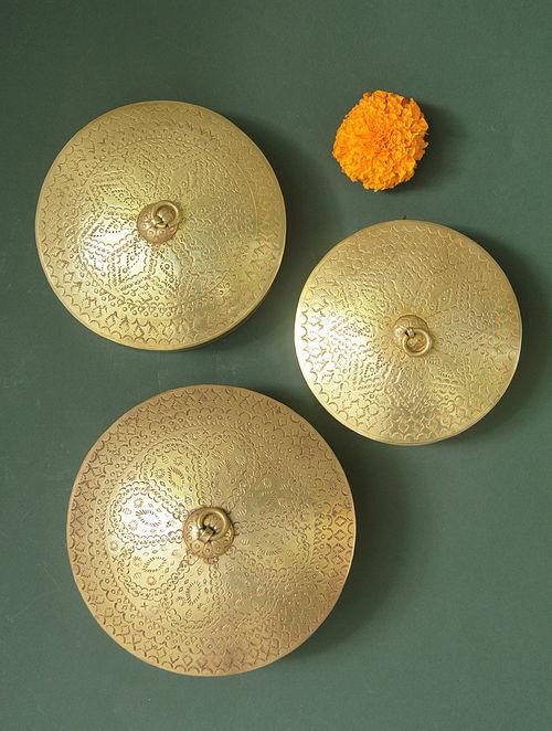 Handcrafted Brass Dabro Set (Set of 3)