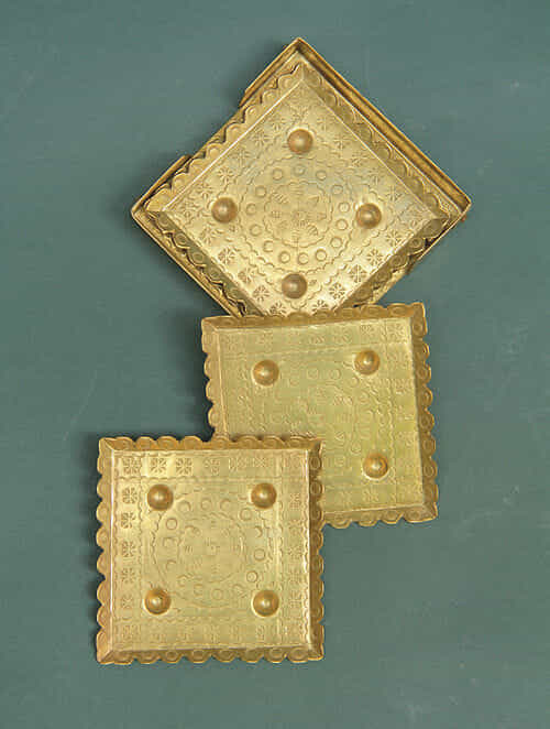 Handcrafted Brass Coasters (Set of 6) (3.1in x 3.1in)