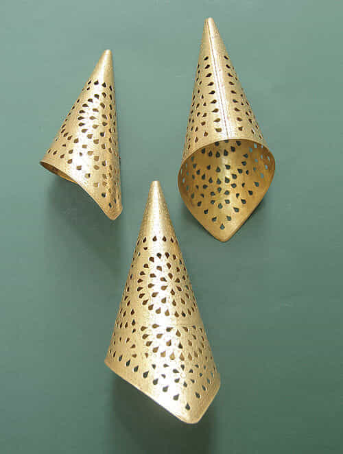 Handcrafted Brass Cone Lamp (Set of 3)
