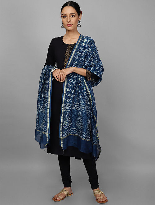 Blue Block Printed Chanderi Dupatta