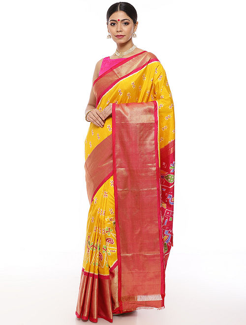 Yellow-Pink Handwoven Pochampally Silk Saree