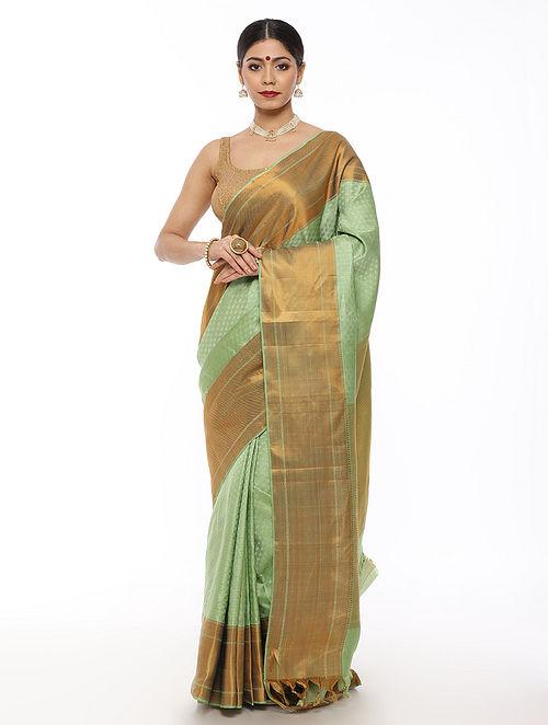 Green Handwoven Kanjivaram Silk Saree with Thread Work