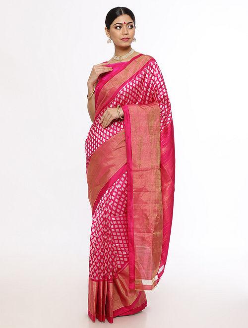 Pink Handwoven Pochampally Silk Saree with Zari