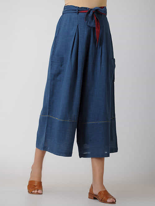Indigo Elasticated Waist Cotton Pants