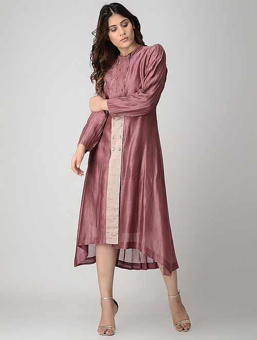 Wine Kantha-embroidered Handwoven Chanderi Dress with Block-printed Slip (Set of 2)