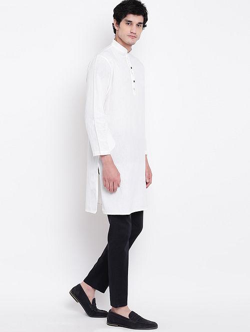 White Cotton Linen Full Sleeve Kurta