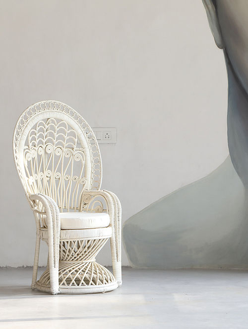 Peacock White Rattan Chair (L- 55cm, W- 77cm, H- 107cm)