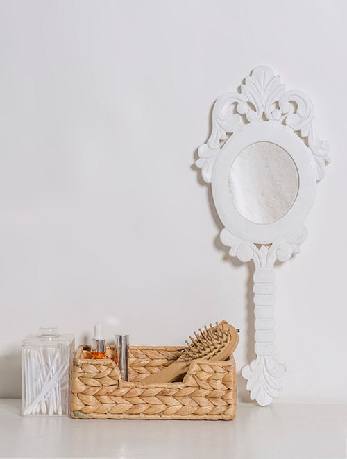 White Wood Hand Mirror