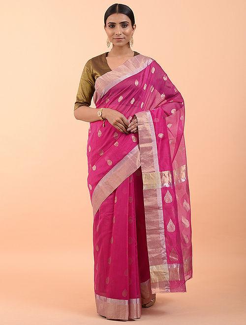 Pink Handwoven Silk Cotton Saree (Set of 3)