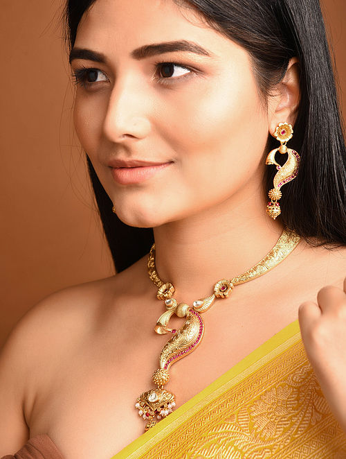 Gold Tone Temple Work Necklace with Earrings