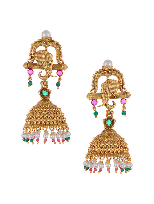 Gold Tone Temple Work Jhumki Earrings with Pearls