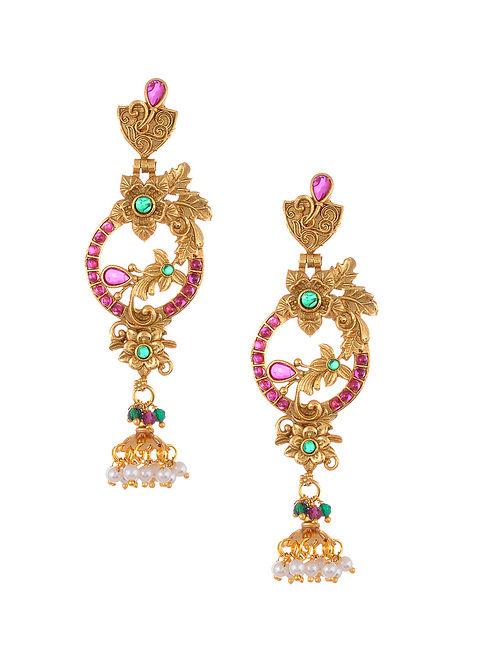 Gold Tone Temple Work Earrings