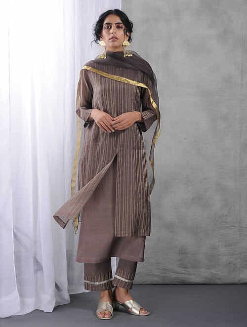 Charcoal Layered Zari Silk Cotton Kurta