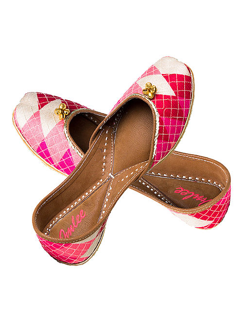 Pink-White Hand-Embroidered Leather Jutti with Ghungroos