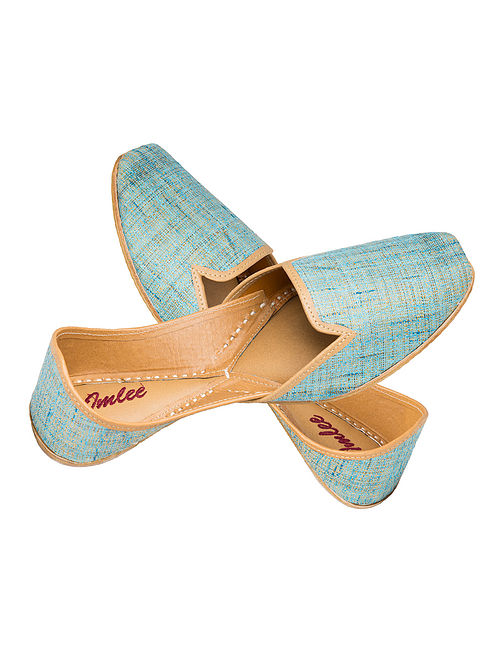 Turquoise Handcrafted Khadi Silk and Leather Jutti for Men