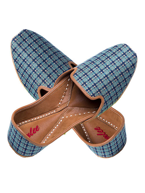 Blue Handcrafted Checkered Suede and Leather Jutti for Men