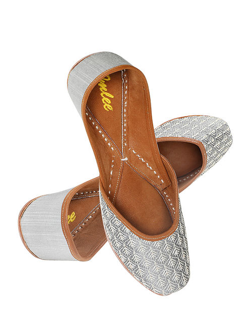 Grey Silver Embroidered Leather Juttis with Sequins