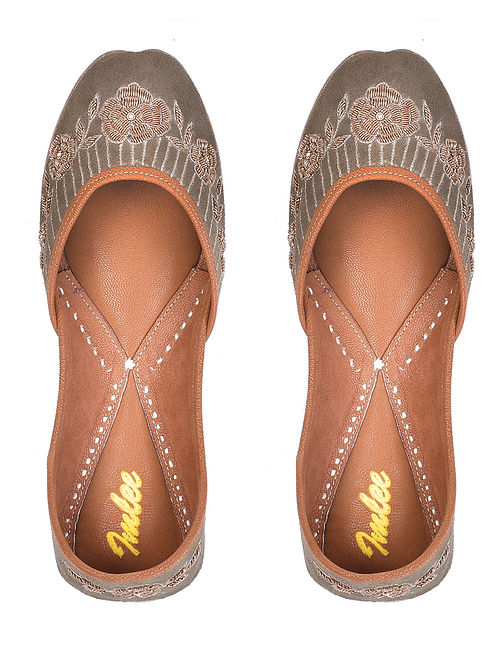 Brown Gold Handcrafted Zardosi Embroidered Suede Leather Juttis