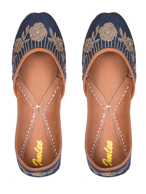 Navy Blue Gold Handcrafted Zardosi Embroidered Suede Leather Juttis